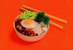 Eggs Obento Japanese Breakfast Lunch Box Chopsticks Toy Lego Model Postcard