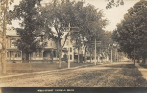 Dixfield ME Dirt Street View  in 1908 Real Photo Postcard