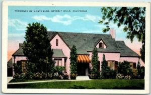 Beverly Hills, California Postcard RESIDENCE OF MONTE BLUE Stars' Homes c1930s