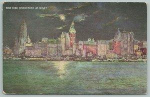 New York City~Riverfront & Skyline At Night~Vintage Postcard