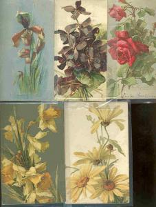 pc6218 postcard Flowers Greetings FIVE 4 used 1 not 1908 4 are Tuck's