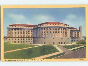 Unused Linen EDUCATIONAL BUILDING Harrisburg Pennsylvania PA G0996