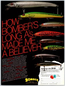 1981 Bomber Long A's Fishing Lure Lure Print Ad Man Cave  F1