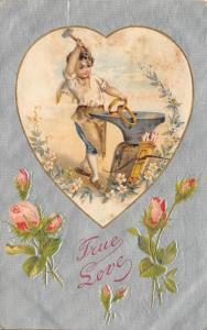 Valentine~Cupid Hammers Wedding Rings on Anvil~Silk Heart~Silver Back~Winsch