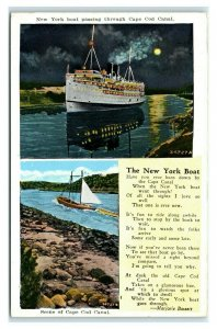 Postcard New York Boat passing through Cape Cod Canal T29