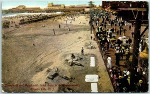 1910s Atlantic City NJ Postcard Beach Scene w/ Sand Artist - Christ Sculptures