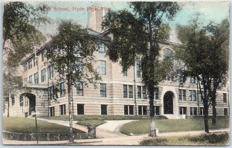 Hyde Park, Massachusetts Postcard HIGH SCHOOL Building View Hand-Colored 1911