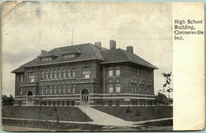 c1900s Connersville, Indiana Postcard High School Building Undivided Back