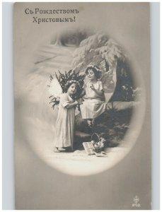 Angel Girls Flower Crowns in Snow Scene with Doll Studio Antique European RPPC