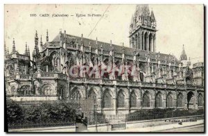 Old Postcard Caen Eglise Saint Pierre