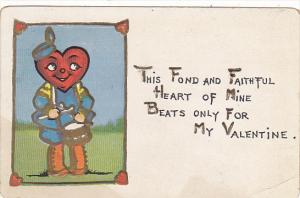 Valentine's Day Boy With Heart Shaped Head Playing Drum