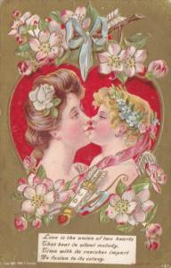 Valentine's Day Beautiful Lady Kissing Cupid 1909