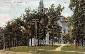 Pontiac Michigan~High School~Power Lines & Fire Hydrant by Dirt Road~1907 Pc