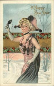 New Year - Beautiful Woman Takes Off Mask c1910 Embossed Postcard