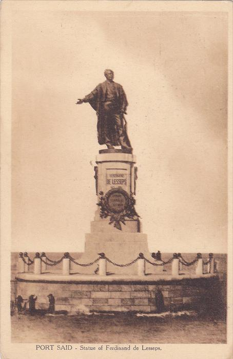 Port Said , Egypt , 1910s ; Statue of Ferdinand de Lesseps