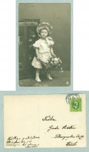 Sweden. 1903. Girl With Hat,Flowers. Postal Used