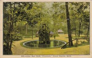 Michigan Grand Rapids Fountain In John Ball Park 1908