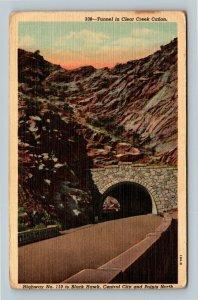 Clear Creek Canon CO, Tunnel, Highway, Linen Colorado Postcard