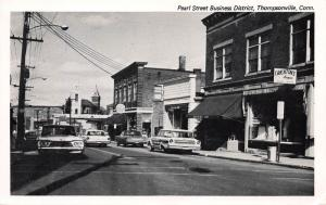 Pearl Street Business District, Thompsonville, CT., early postcard, Unused