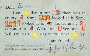 We missed you in Sunday school puzzel Novelty PU 1957