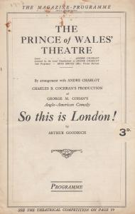 So This Is London Fred Kerr of 1931 Frankenstein Film Comedy Theatre Programme
