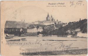 1904 POZDRAV Z PRAHYL Austria Postcard Pohlad s mostu cis Frantiska josafa