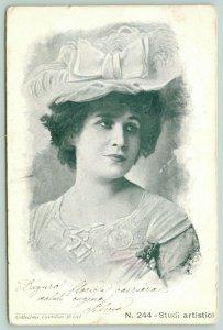 Italian Lovely Lady~Ritratto Italiano Adorabile Signora~Edwardian Cappello~1906