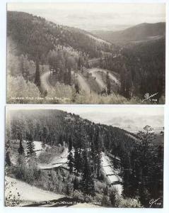 2 Cards RPPC Jackson Hole from Teton Pass & Switchbacks, Wyoming