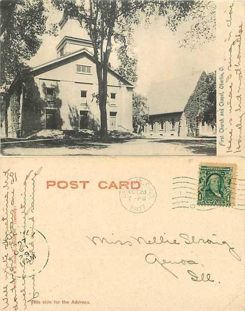 First Church and Chapel, Oberlin, Ohio, OH, 1907 UNDivided Back