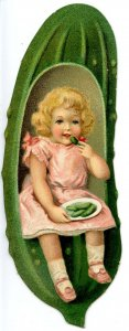 Advertising Trade Card - Heinz Pickle, Girl Eating Pickles    (5H X 1.75W D...