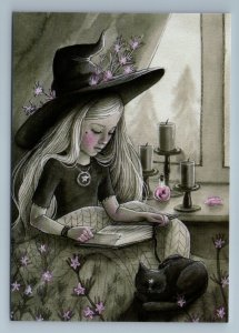 LITTLE GIRL w/ Long Hair n Black CAT Rosemary Witch Candle Russian New Postcard