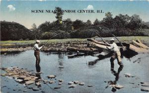 Davis Junction-Monroe Center Illinois~Men Fishing in Stream~c1910 Postcard