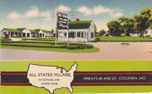 Columbia , Missouri , 1943 ; All States Village Cottages & Tourist Home