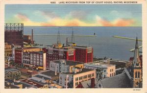 Lake Michigan From Top of Court House, Racine, Wisconsin, Early Postcard, Unused