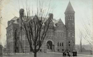 Frankfort IN~Girls in Coats Outside High School~Corner Tower~c1910 CU Williams