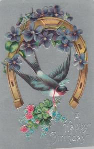 Happy BIRTHDAY; 00-10s; Bird carrying a bouquet of flowers ; Embossed