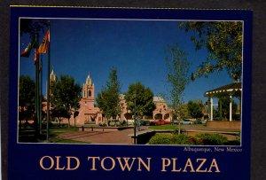 NM Old Town Plaza Albuquerque New Mexico Postcard San Felipe Church