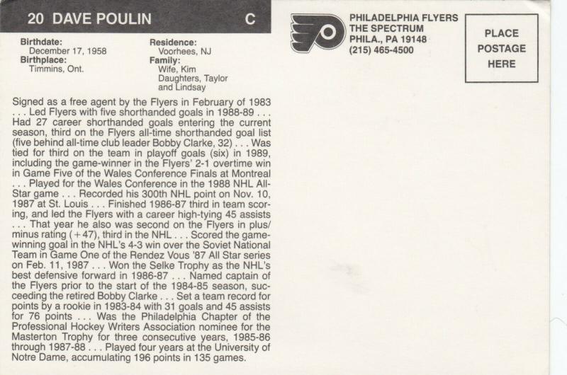 ICE HOCKEY ; Philadelphia Flyers , 1980s ; Dave Poulin