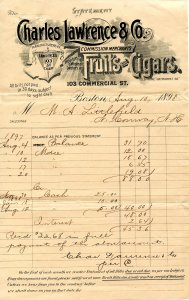 Charles Lawrence & Co., Boston, MA Bill of Sale/Receipt dated 1898
