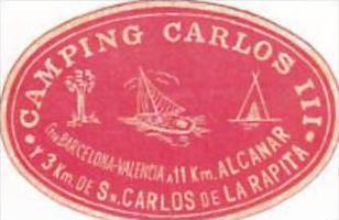 SPAIN SAN CARLOS DE LA RAPITA CAMPING CARLOS III VINTAGE LUGGAGE LABEL