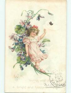 Pre-Linen Exaggeration CUTE GIRL WITH BUTTERFLY AND GIANT FLOWERS AC4721