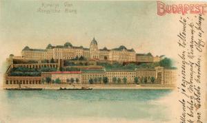 Hungary Budapest Litho Kiralyi Var damage trimmed postcard 8x13cm