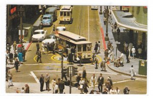 San Francisco CA Cable Car Turntable Powell Market Sts Gray LIne Tour Postcard