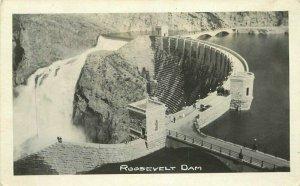 Airview Roosevelt Dam Arizona 1920s RPPC Photo Postcard 20-5988