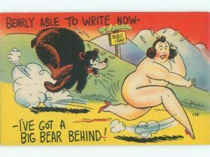 Linen Risque NUDE FAT WOMAN RUNNING AWAY FROM BEAR AB6733