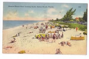 Delray Beach Florida 1947 Christmas Seal Tied On PPC Linen