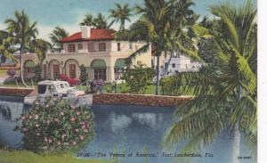 Florida Fort Lauderdale Beautiful Residence Along Canal Curteich
