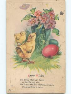 Pre-Linen easter CHICKS WITH FLOWERS IN ANTIQUE VASE k2378