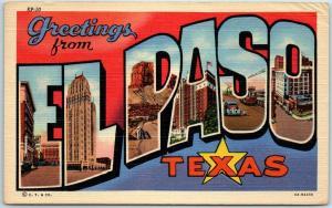 EL PASO Texas Large Letter Postcard Multi-View Curteich Linen / 1945 Cancel