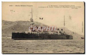 Old Postcard Boat Cruiser Corsaire La Marseillaise breastplate accompanying M...
